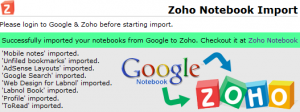 Import Google Notebook to Zoho easily