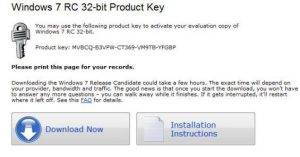 Windows 7 RC Activation Product key, Windows 7 Serial Key, Windows 7 Activation