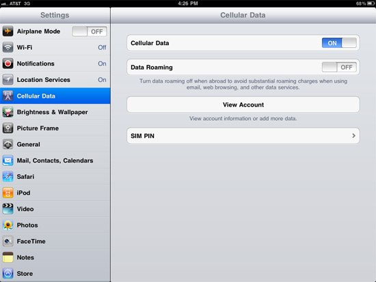 Turn off iPad 3G