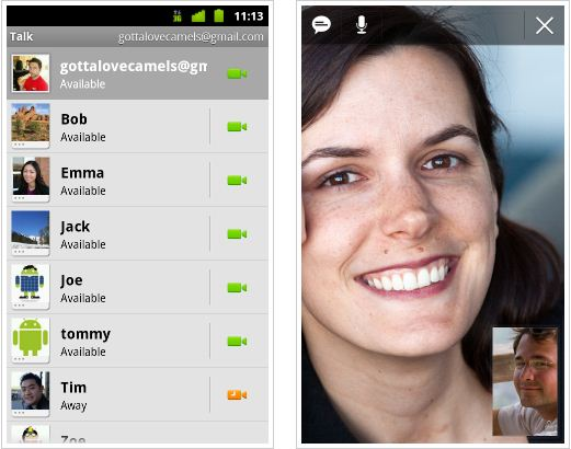 G Talk, Android, Apps, Video Chat