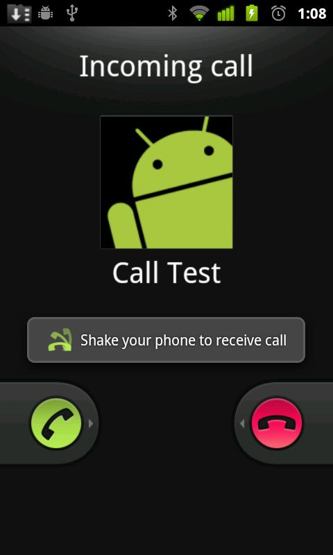 answer android calls with a shake