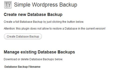 Simple WordPress Backup plugin