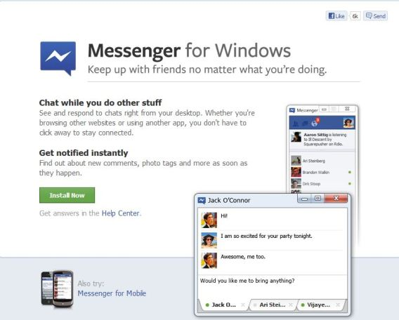 Download official Facebook messenger for Windows 7 desktop