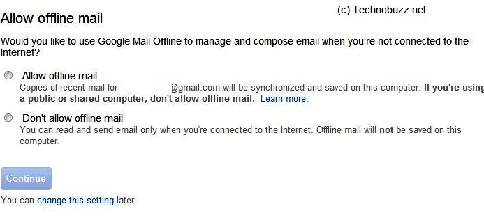 Allow Gmail Offline Page