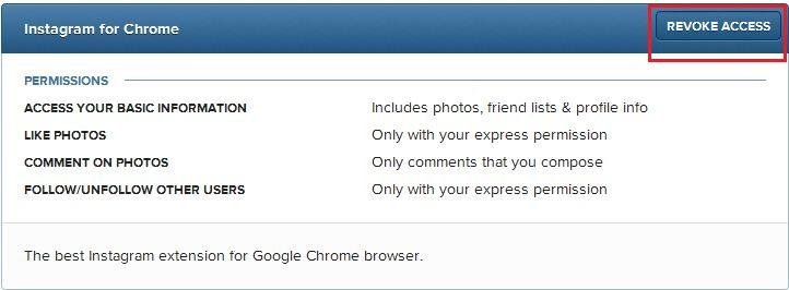 Delete Instagram for Chrome and revoke access