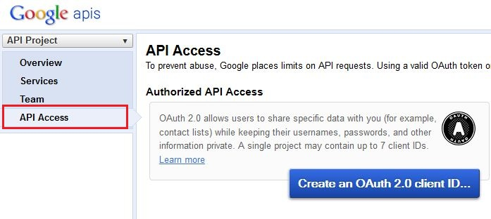 Create an OAuth Client ID