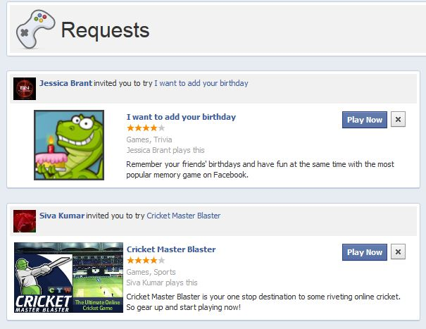 FaceBook App Requests
