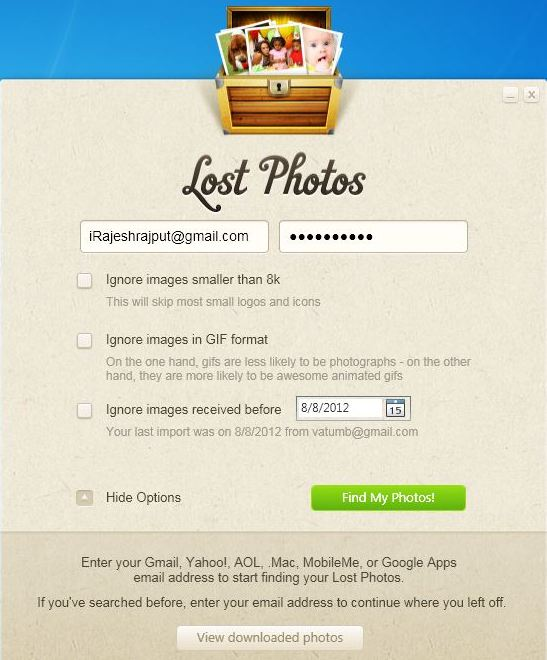Lost Photos Options