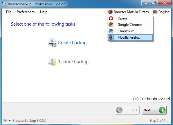 Select Browser to Create Backup