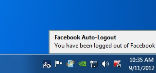 Facebook Auto Logout Notification