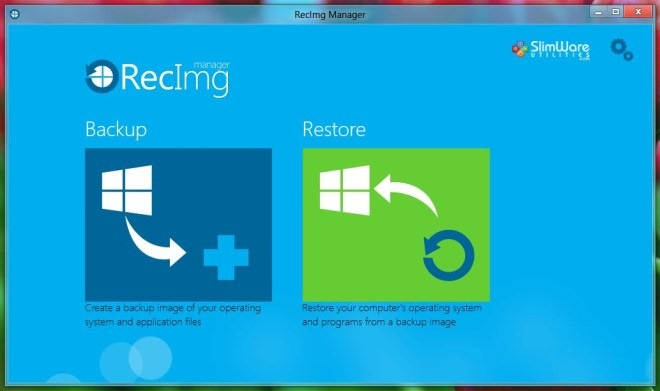 RecImg Manager Backup Restore Windows 8