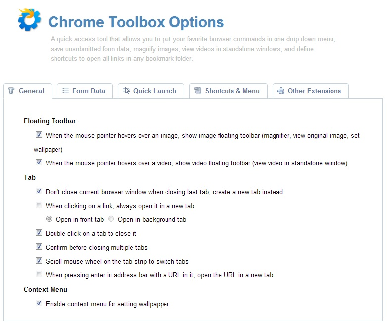 Chrome Toolbox Features