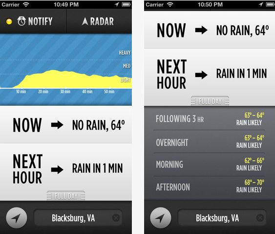 Dark Sky iPhone iPad App