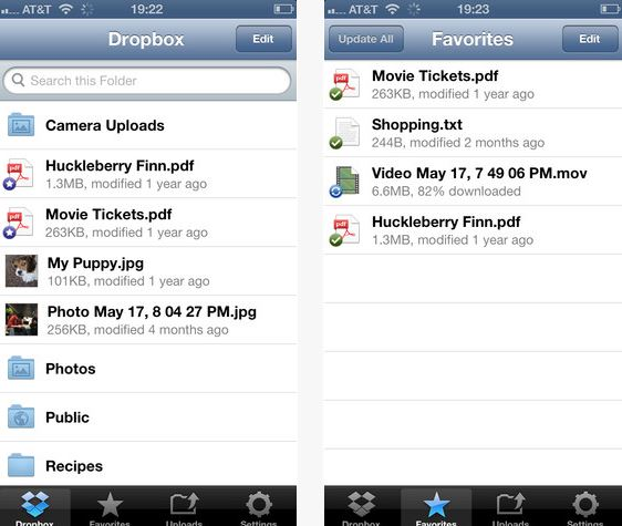 Dropbox iPhone iPad app