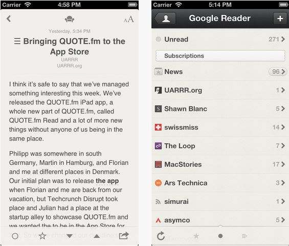 Reeder iPhone iPad App