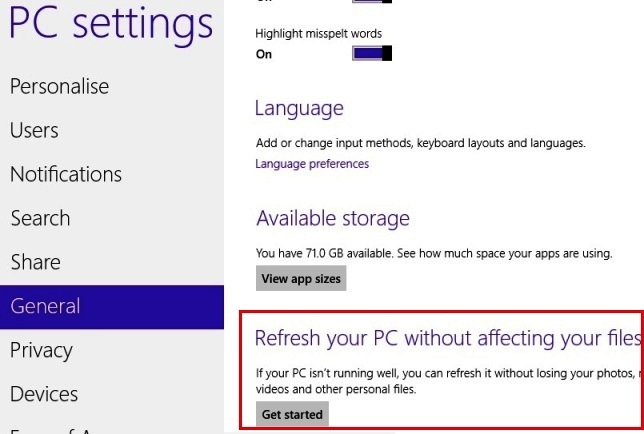 Windows 8 Refresh Settings