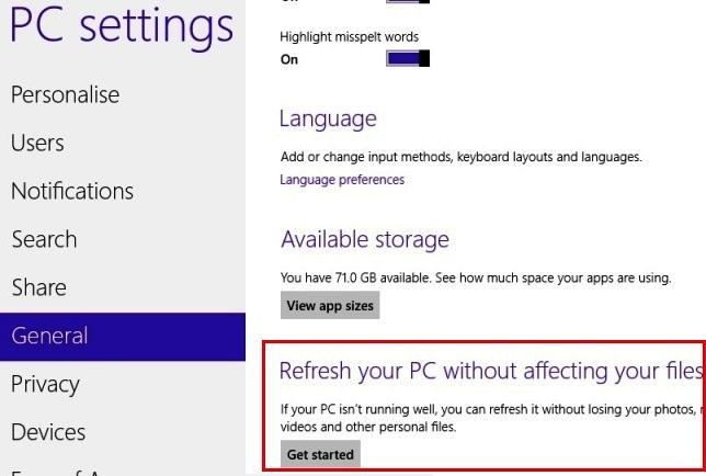 Windows 8 Refresh Settings