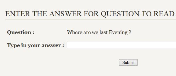 Enter the Question Answer to read Mail