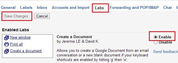 Gmail Lab Settings
