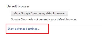 Google Chrome Advance Setting