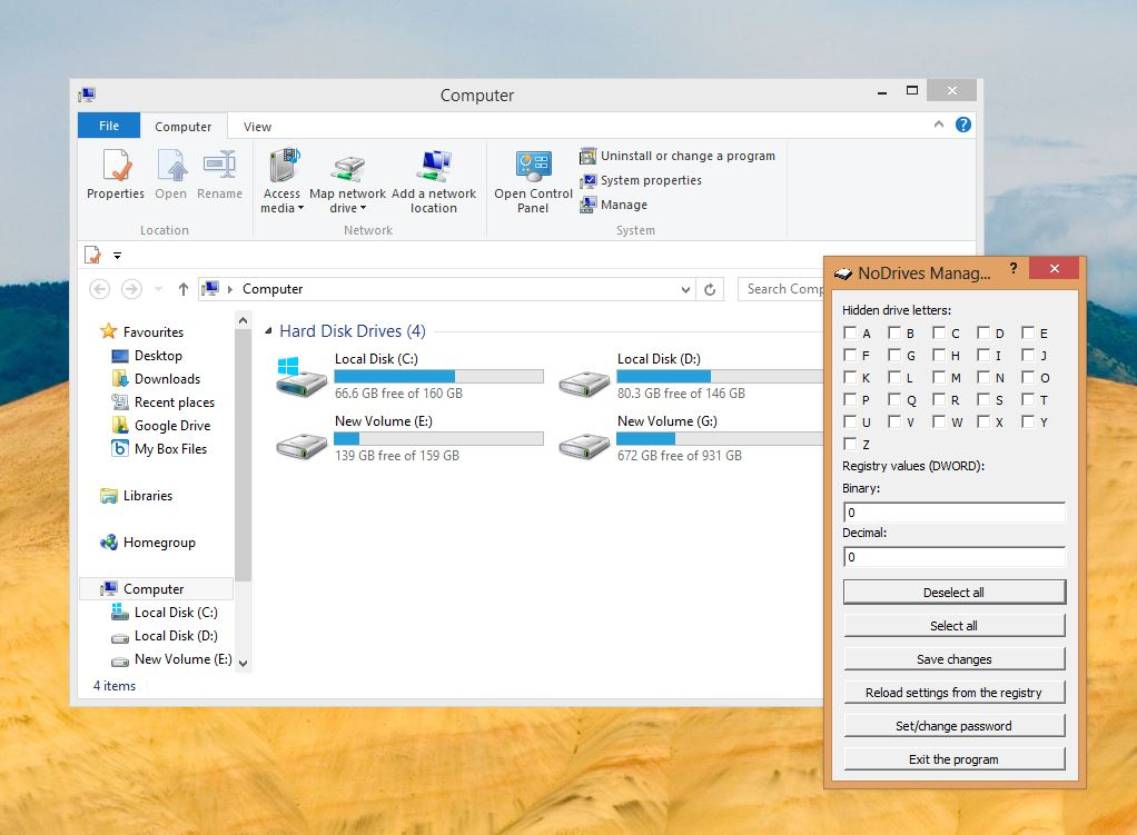 How to Hide Disk Drives in Windows 8 Computer