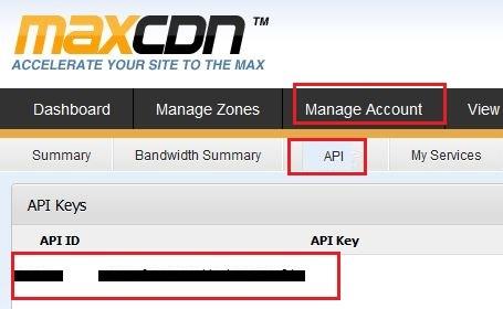 MAXCDN API ID Key