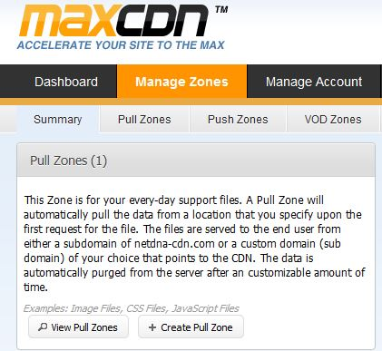 MaxCDN Create Zone