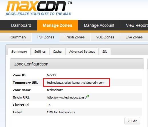 MaxCDN PullZone details
