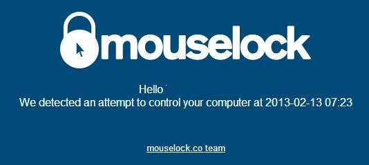 MouseLock Email Alert