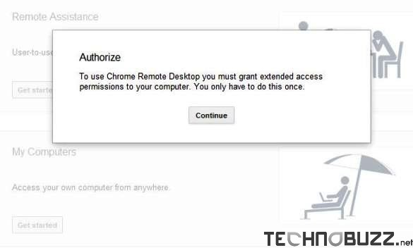 Authorize Chrome Remote Desktop