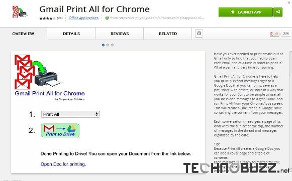 Gmail Print All Chrome Addon