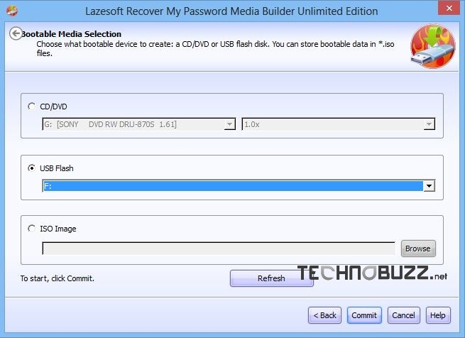 Select Media to Reset Windows 8 Password