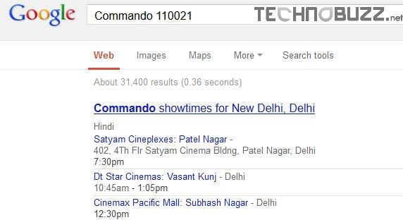 Check local movie showtimes in Google Search