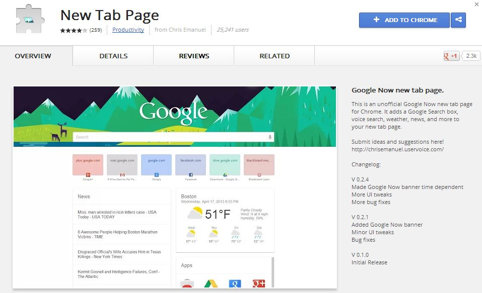 New Tab Page Chrome Addon