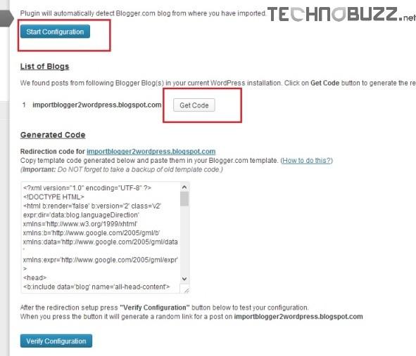 Blogger to WordPress Redirection Code
