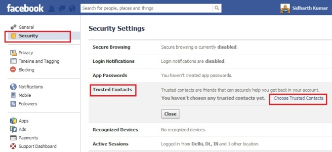 Facebook Trusted Contacts Settings