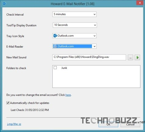 Howard Outlook Email Notifier Settings