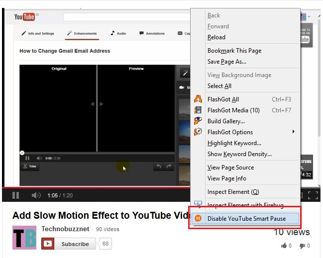 Disable YouTube Smart Pause