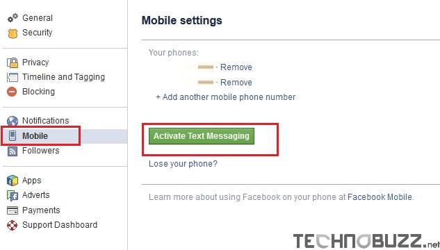 Facebook Mobile Settings to Activate Text Messaging