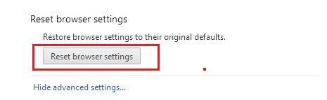 Google Chrome Reset Browser Settings
