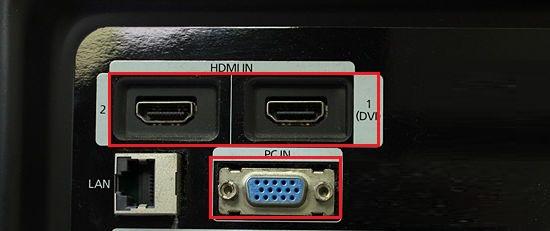 TV HDMI and VGA Ports