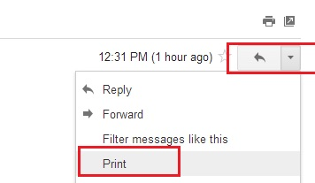 Gmail Print Option