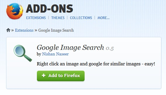 Google Image Search Firefox Addon