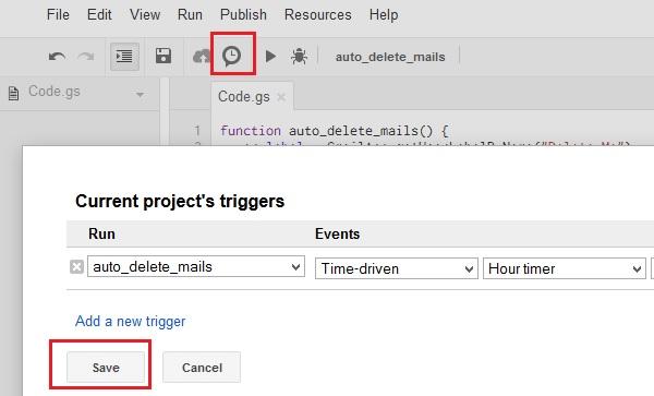 google-script-set-trigger