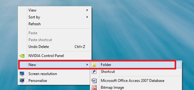Create New Folder on Desktop