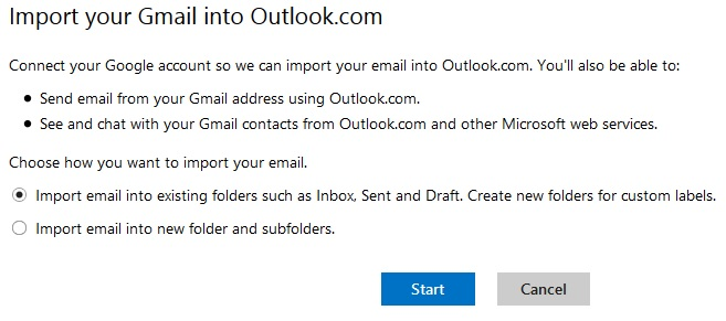 Import Gmail to Outlook