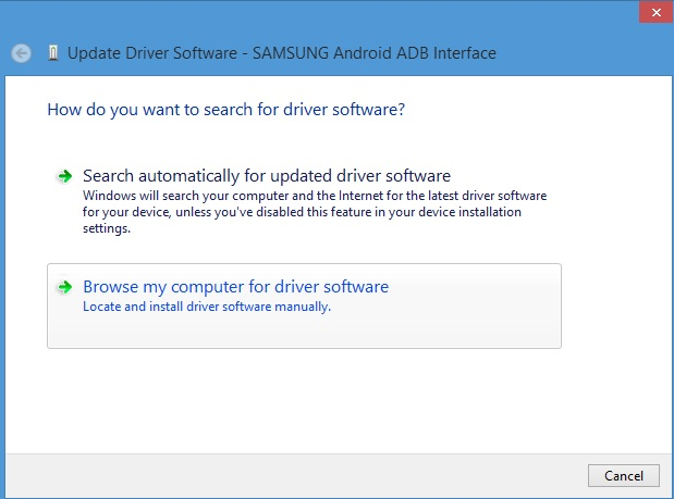 Browse Computer for USB drivers