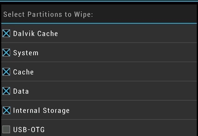 TWRP Wipe Cache and Data System