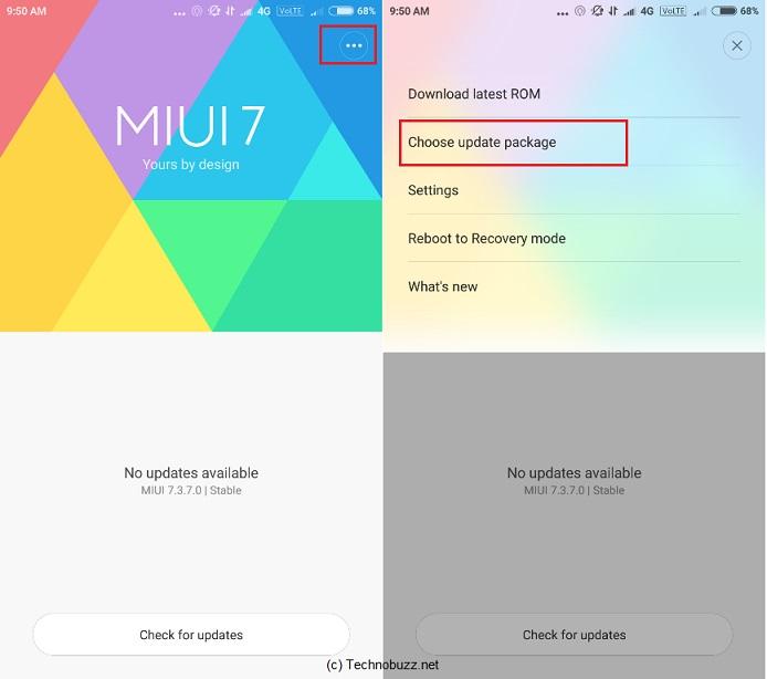 MIUI 8 Choose Update Package