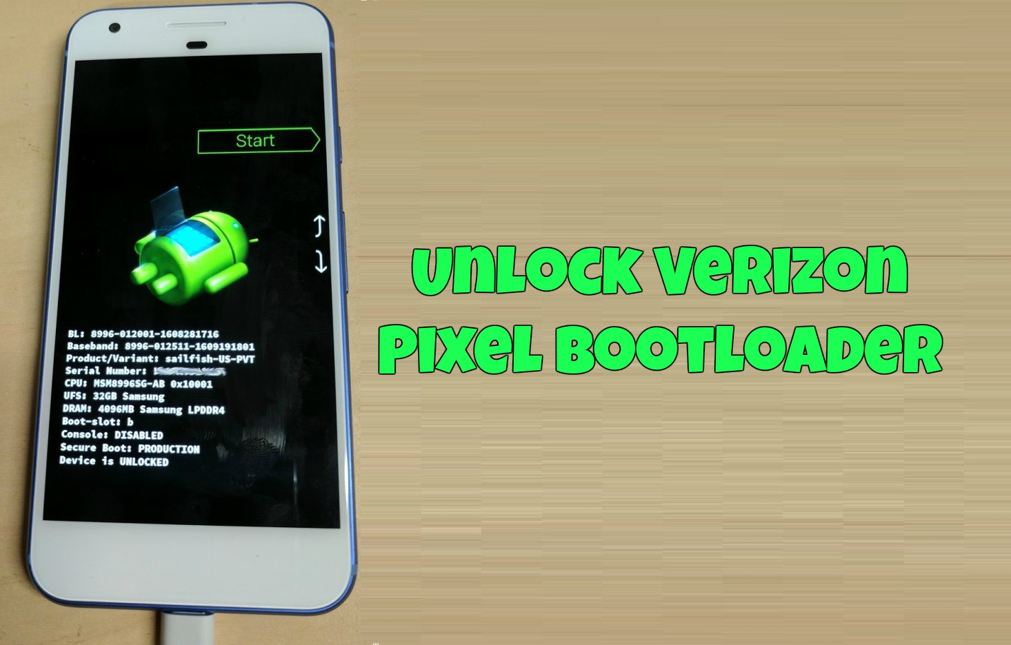 Unlock Verizon Pixel bootloader